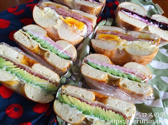 コストコのベーグルで作るサンドイッチ弁当