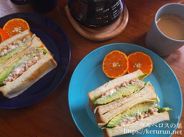 #朝食LOG アボカドとツナのトーストサンド