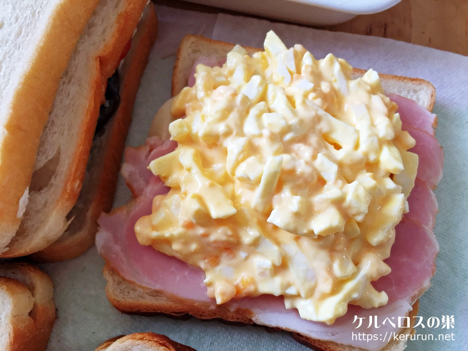 トーストサンドのお弁当・ハムたまご