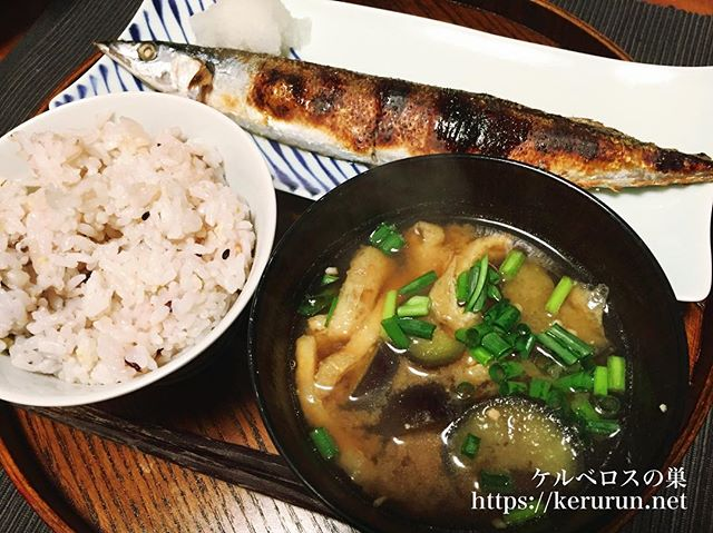 【一汁一菜】なすと油揚げの味噌汁&秋刀魚の塩焼き