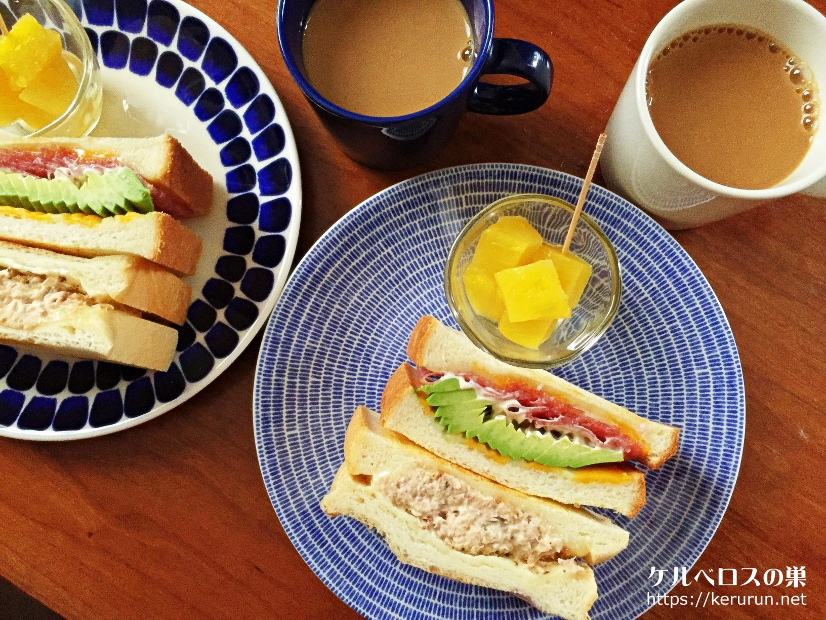 ツナチーズ&アボカドサラミの贅沢二種類トーストサンド