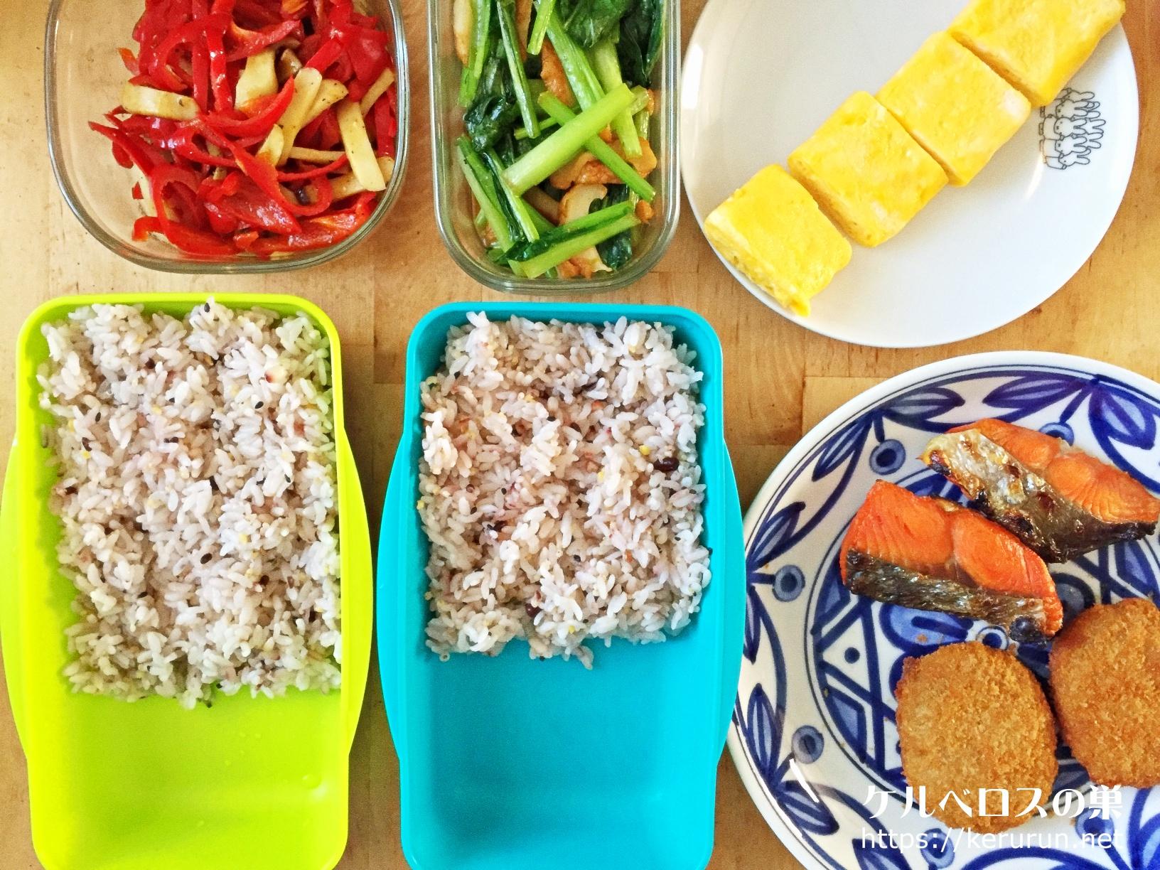 コロッケと焼き鮭のお弁当