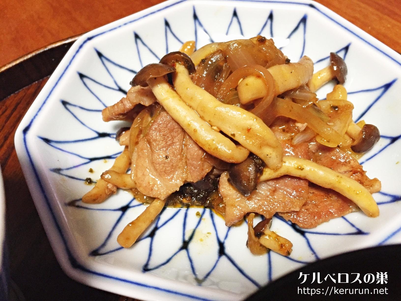 【一汁一菜】絹揚げと大根と大根の葉の味噌汁&豚肩ロースとしめじの山椒炒め