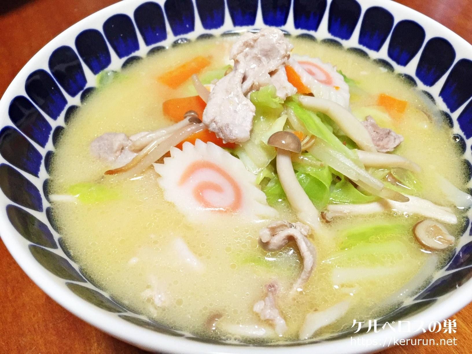 ヒガシマルのちゃんぽん粉末スープと冷凍うどんで作るちゃんぽんうどん