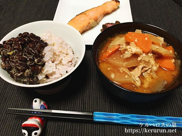 【一汁一菜】焼き鮭&二日目の豚汁