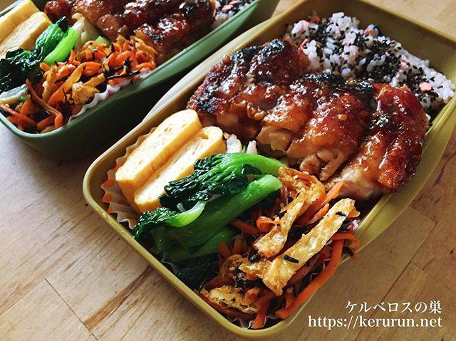 グリルパンで作る鳥もも肉の照り焼き弁当