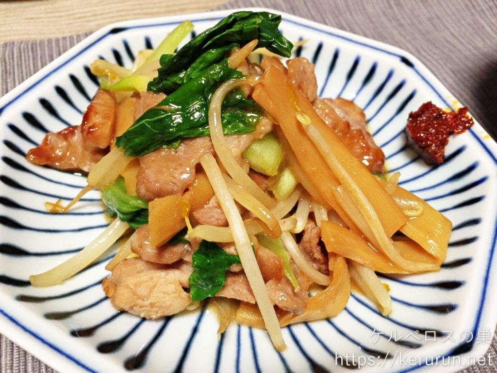【一汁一菜】豚と野菜とメンマの炒め物&大根と油揚げの味噌汁