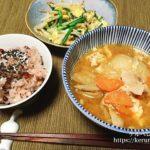 【一汁一菜】野菜の卵炒め&豚汁&赤飯