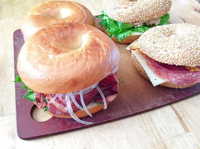 コストコのベーグルでサンドイッチのお弁当