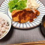 コストコの豚ロース厚切り肉でとんかつ定食の晩ごはん